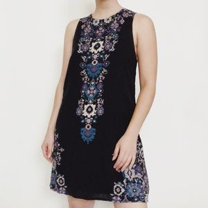 UO Ecote Guinevere Black Floral Backless Dress
